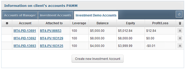 PAMM account setup screen