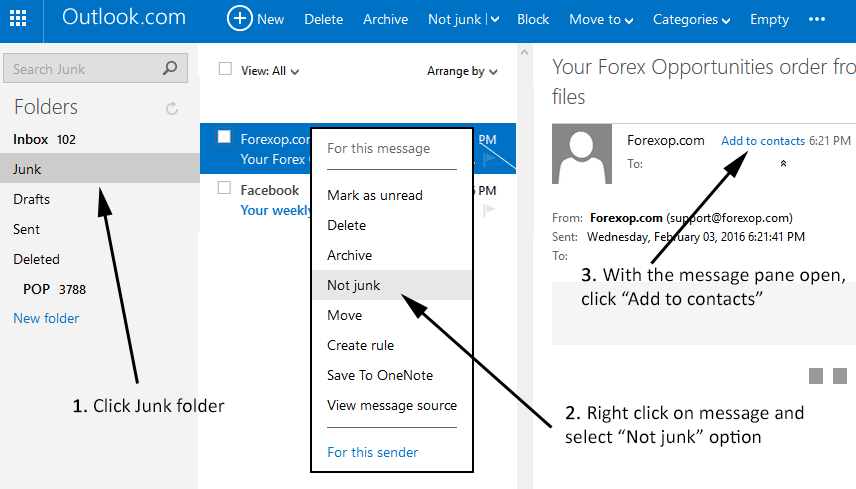 Hotmail: Adding to safe senders' list
