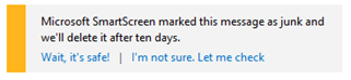 Hotmail: Junk options