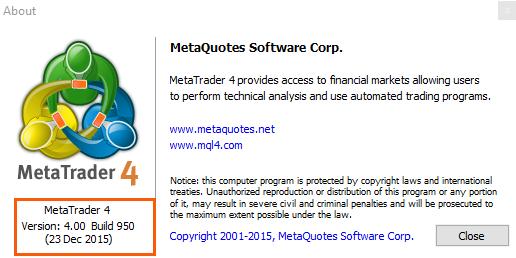 MetaTrader version details