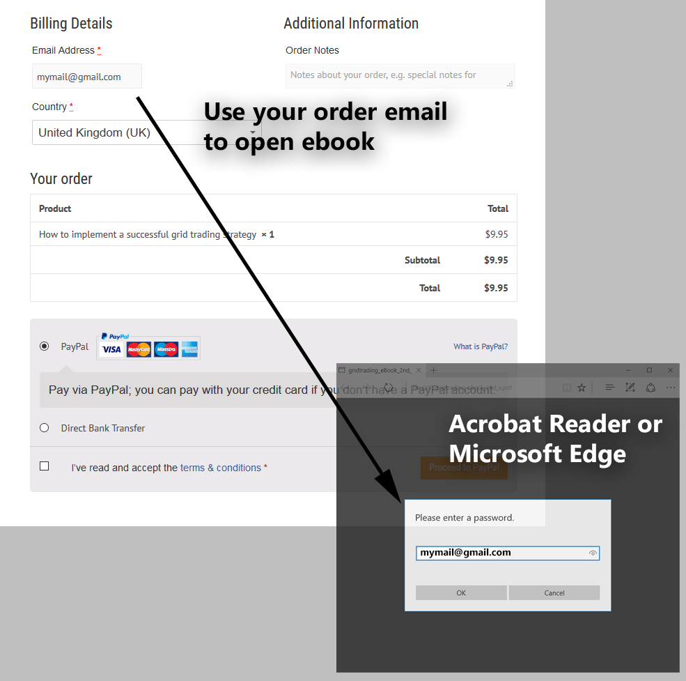 Opening an ebook: Use your order email as password