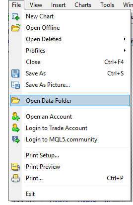 Use data folder to locate the folder