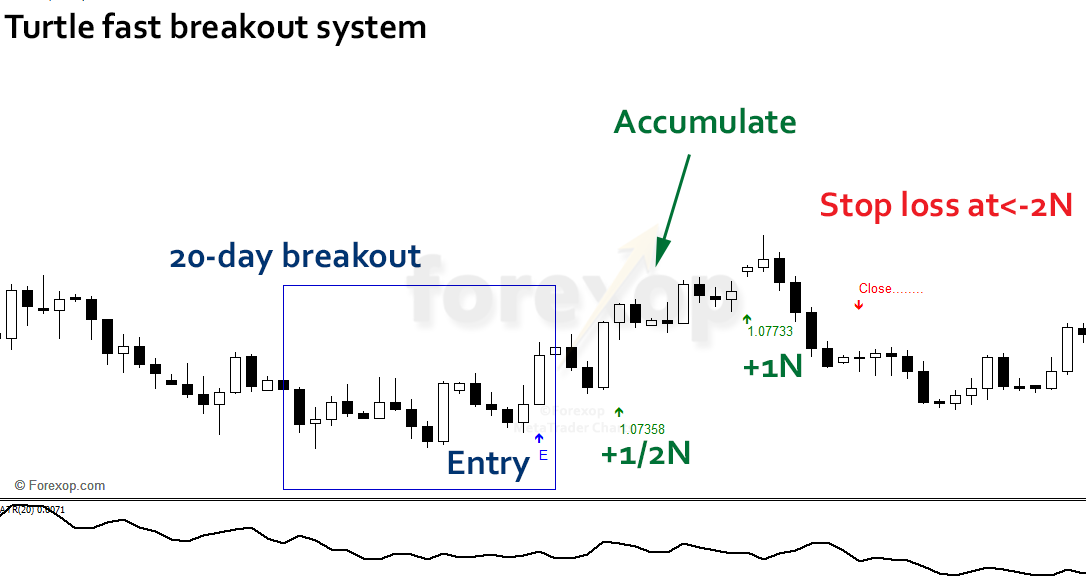 """Figure 1: Example of the turtle's 20-day """"fast"""" breakout signal"""